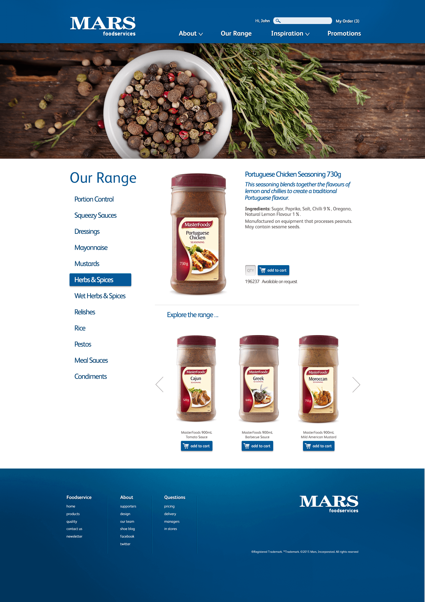 Mars Foodservices_Website design_Product page